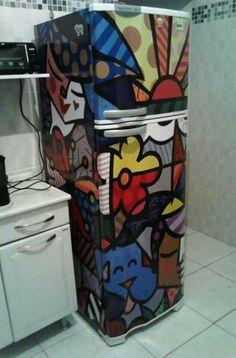 adesivo geladeira romero britto