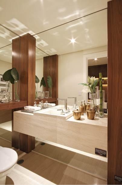 LAVABOS MODERNOS decoração e projetos -> Gabinete De Banheiro Travertino