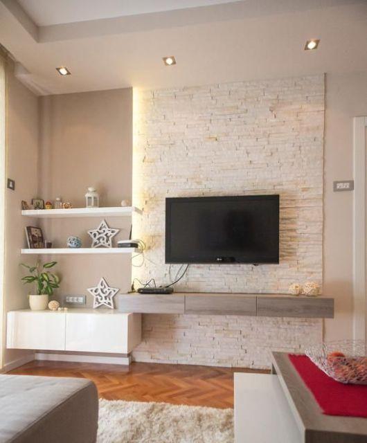 Modelos de painel para tv tipos e fotos for Ideas decorativas para salas
