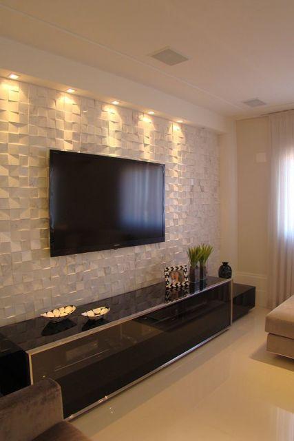 Como Decorar Sala Com Tv Na Parede ~ Para esta sala, o revestimento escolhido para a parede foi o cubus
