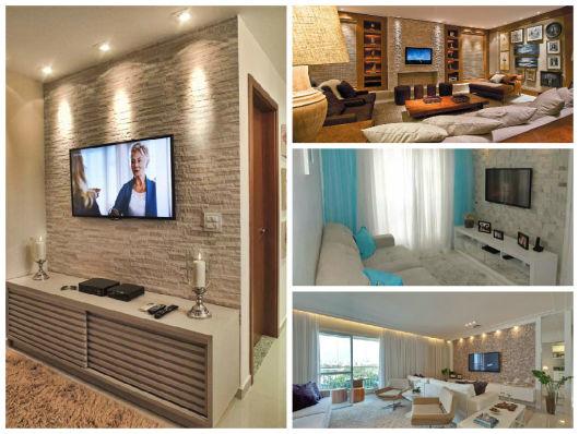 sala com TV na parede