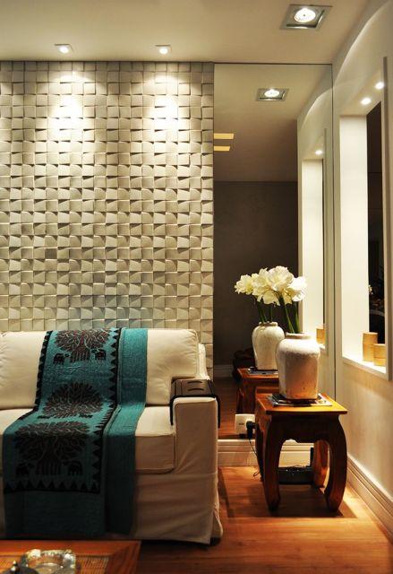 Parede de espelho na decora o 35 ideias e fotos - Placas decorativas paredes interiores ...