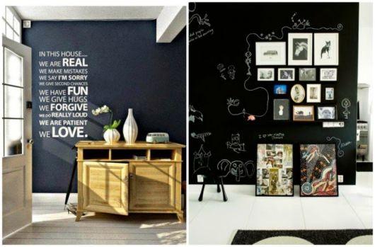 parede preta decorada