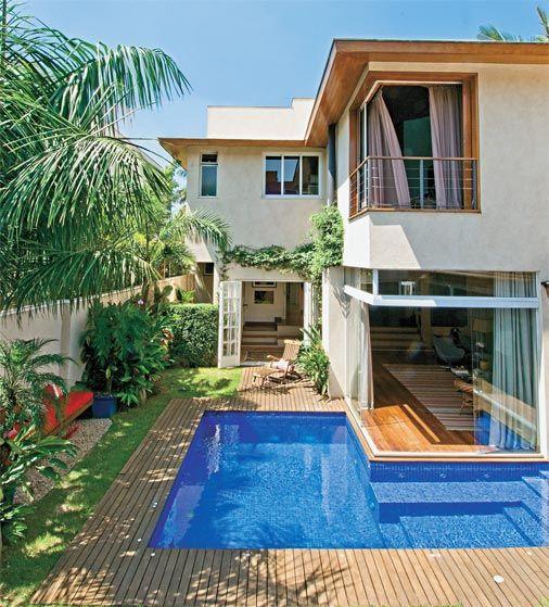 Piscina com deck 30 dicas ideias e projetos imperd veis for Casa de campo pequena con piscina