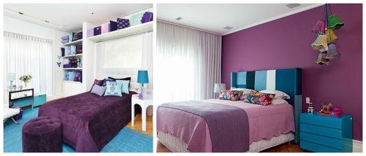 decoração roxa e azul