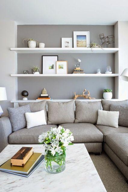 Sala cinza 40 inspira es dicas e ideias imperd veis for Sofa 4 meter