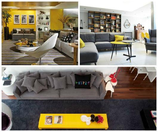 Sala De Tv Cinza E Amarelo ~ Fotos de sala cinza com toque de cor