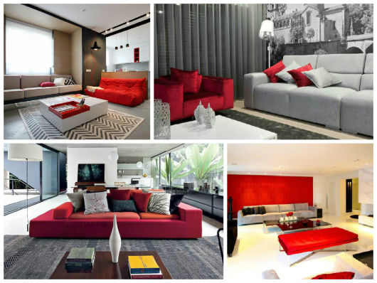 decoração cinza e vermelha