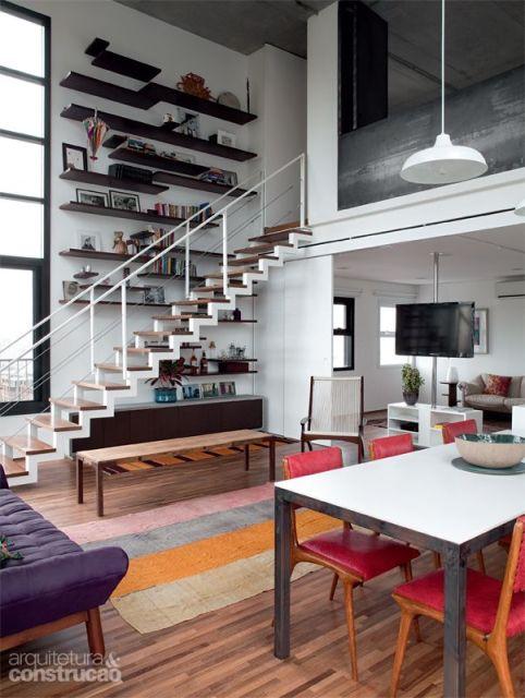 Sala Pequena Com Escada ~ SALA COM ESCADA 30 ideias para decorar!