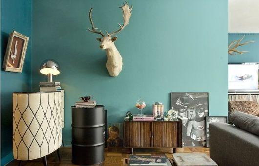 parede azul sala