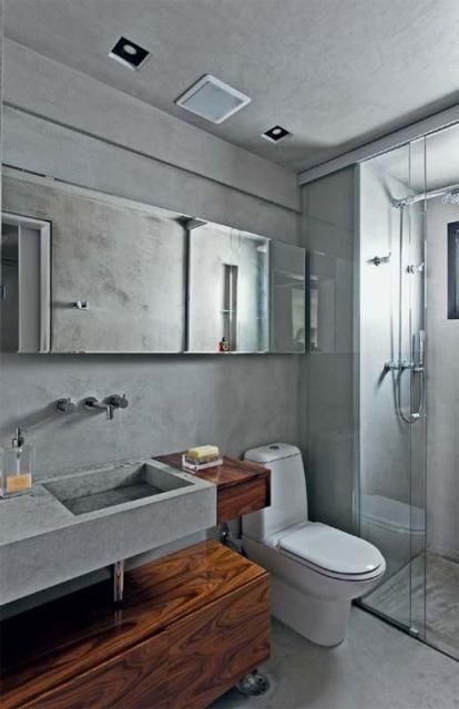 BANHEIRO CINZA acabamentos e decoração! -> Gabinete De Banheiro Cinza