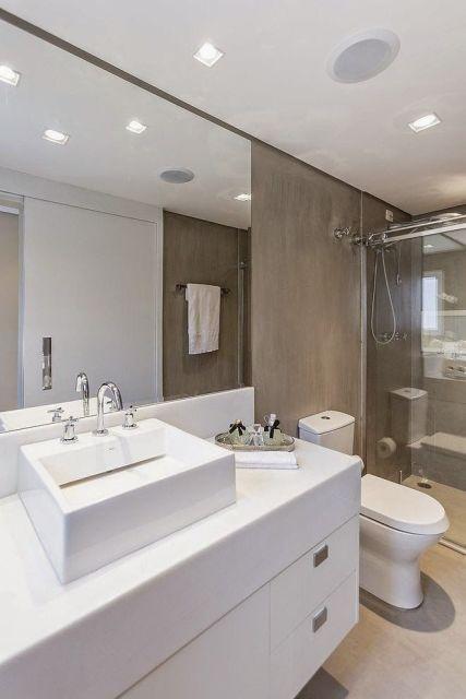 BANHEIRO CINZA acabamentos e decoração! -> Banheiro Planejado Cinza