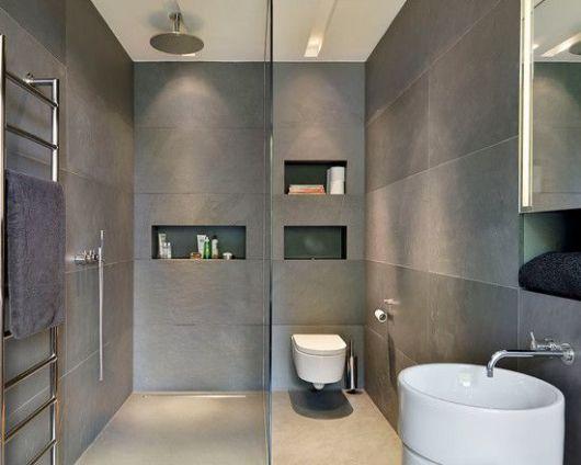 BANHEIRO CINZA acabamentos e decoração! -> Banheiro Pequeno Cinza