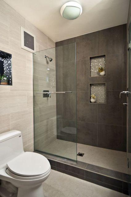 BANHEIRO CINZA acabamentos e decoração! -> Nichos Banheiros Modernos