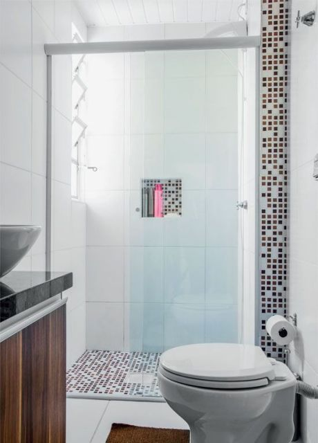 BANHEIRO SIMPLES 45 Dicas, Acabamentos e como Decorar! -> Decoracao De Ceramica Para Banheiro Pequeno