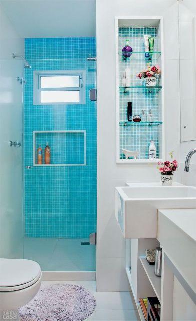 BANHEIRO SIMPLES 45 Dicas, Acabamentos e como Decorar! -> Decorar Banheiro Simples