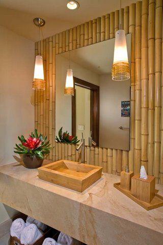 banheiro com cuba bambu
