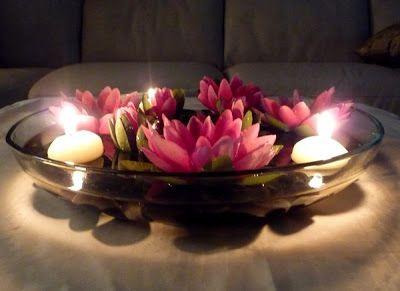 enfeite flores e velas