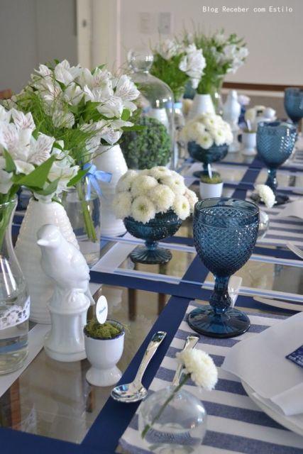 decoração de jantar buques de flores