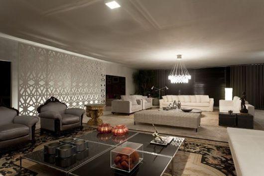 sala com divisória de ambientes branca contemporânea