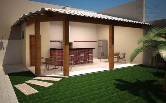 Projeto 3D de edicula simples com cozinha gourmet