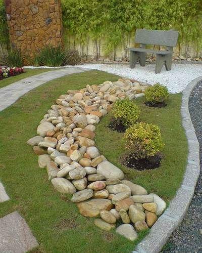 JARDIM COM PEDRAS tipos e fotos! # Decoração De Jardim Com Pedras Grandes