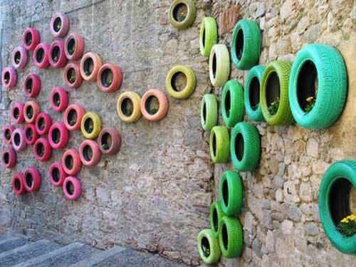 pneu colorido parede