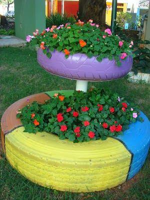 Jardim com pneus 50 ideias de reaproveitamento for Ver jardines decorados