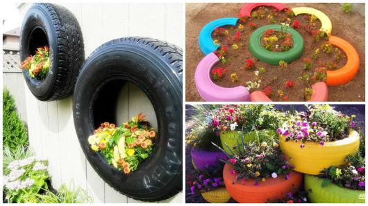jardim com pneu