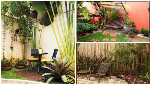 jardim com banco e cadeira