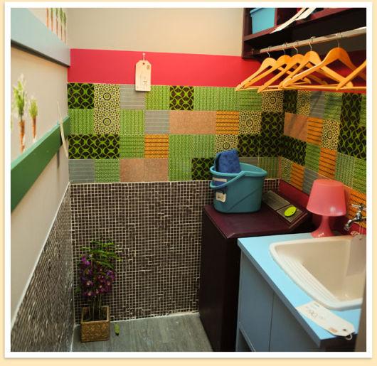decoração colorida lavanderia