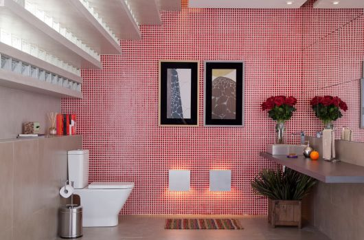 parede pastilha vermelha