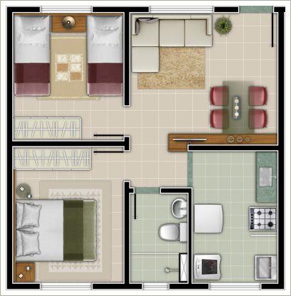 50 modelos de casas pequenas plantas e projetos for Casa tipo 50 metros cuadrados 2 habitaciones
