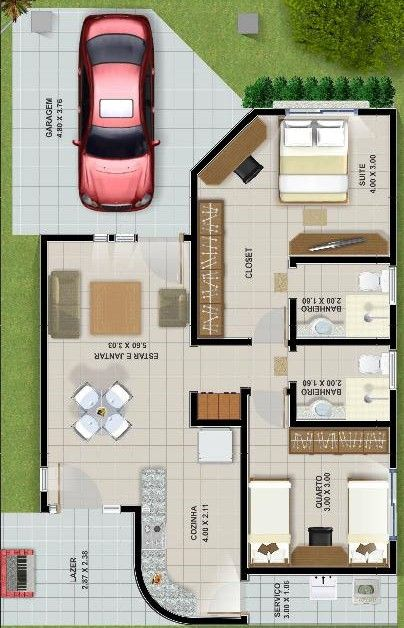 50 modelos de casas pequenas plantas e projetos for Planos de casas pequenas de una planta