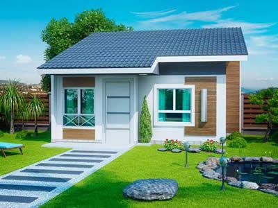 50 modelos de casas pequenas plantas e projetos for Modelo de fachadas para casas modernas
