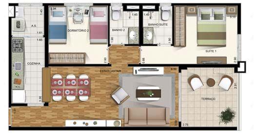 planos de casas pequenas rectangulares