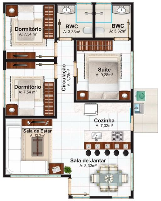 50 modelos de casas pequenas plantas e projetos Planos interiores de casas modernas