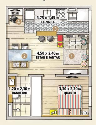 planta casa 1 quarto
