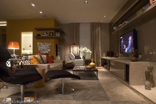 Tamanho Ideal De Tv Para Sala Pequena ~ SALA DE TV MODERNA 30 ideias de como decorar!  Salas Com Tv Grande