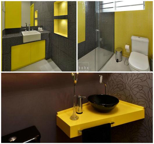 BANHEIRO AMARELO 20 Decorações Incríveis! -> Cuba Para Banheiro Amarela