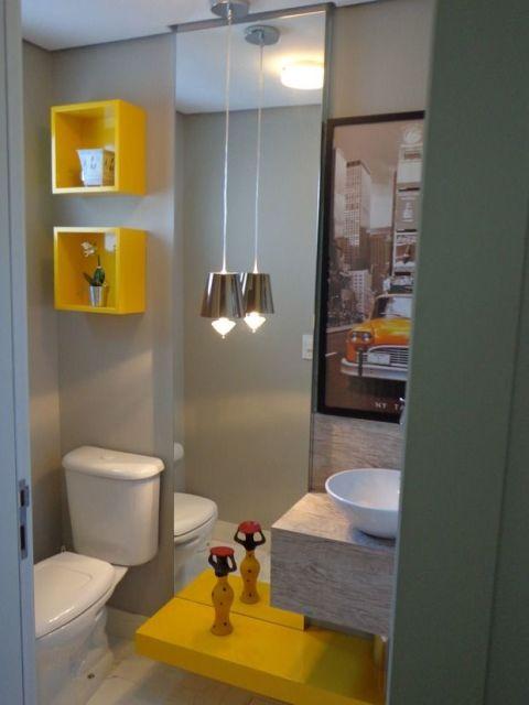 BANHEIRO AMARELO 20 Decorações Incríveis! # Banheiro Decorado Na Cor Cinza