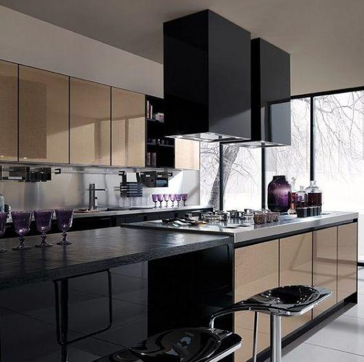 decoração preta cozinha