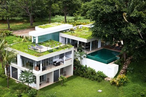 casa com jardim no telhado