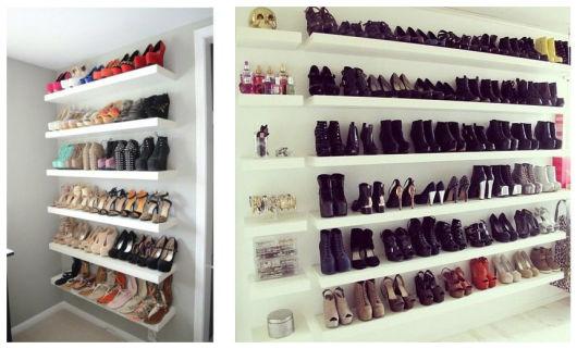 closet com sapatos