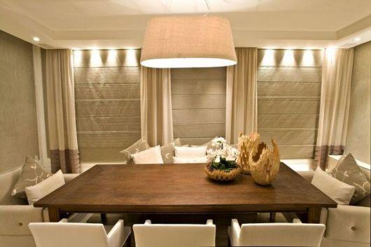cortinas para sala de jantar moderna