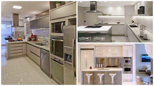 cozinha branca e inox