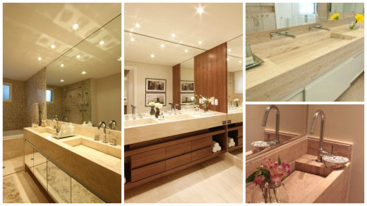 banheiros com cuba de mármore escavado