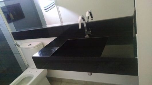 CUBA ESCULPIDA o que é, modelos e materiais! -> Pia Banheiro Granito Preto
