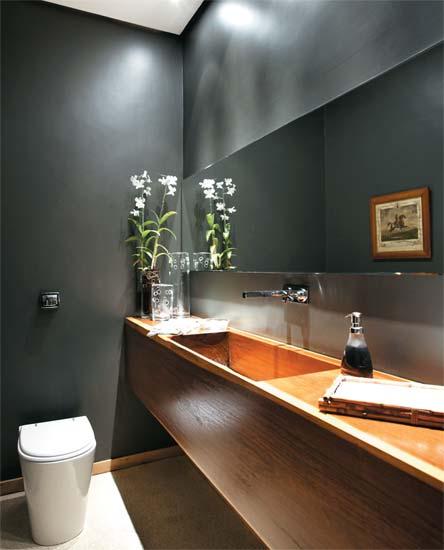 parede cinza lavabo