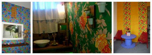 parede de tecido floral